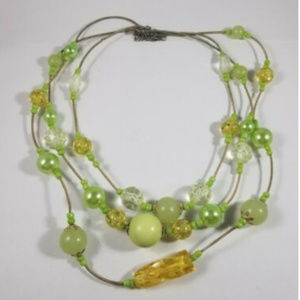 Triple Strand Green Bead Necklace